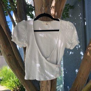 White wrap style top